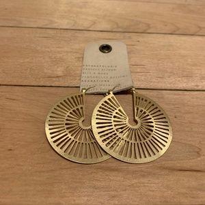 Anthropologie Gold Laser Cutout Disc Earrings